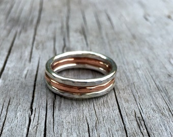 Silver Stacking Rings, Copper Stacking Rings, Sterling Silver Ring, Hammered Rings, Stacking Rings, Copper Rings, Ring Set, Stacker Rings