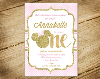 Minnie Mouse / First Birthday / Pink and Gold Glitter / Princess / Baby Girl Birthday Invitation