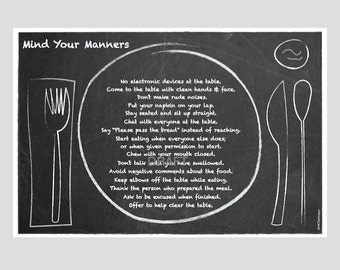 Placemat: Chalk Art Table Manners • Fork & Knife • Laminated • Rules • Mealtime Etiquette