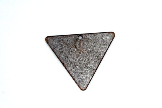 60 pcs 22x25 mm antique copper tone brass triangle tag 1 hole connector charms ,findings 926ACM-60