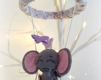 Elephant on butterfly swing mobile
