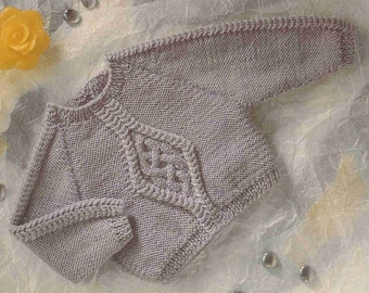 baby aran  jumper aran cable vintage knitting pattern PDF