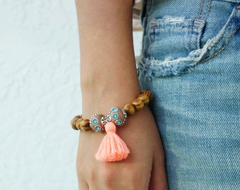 Coral Tassel Bracelet - Beaded Bracelet - Wood Bracelet - Bohemian Jewelry - Boho Beach Bracelet - 1 piece