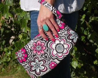 Original Design /Pink Floral Print Wristlet Clutch Bag /Evening/Casual Clutch Purse