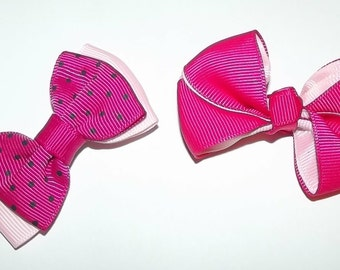 Puppy Bows ~Girls assorted sets of dog bow pink yellow polka dots Maltese ~USA seller