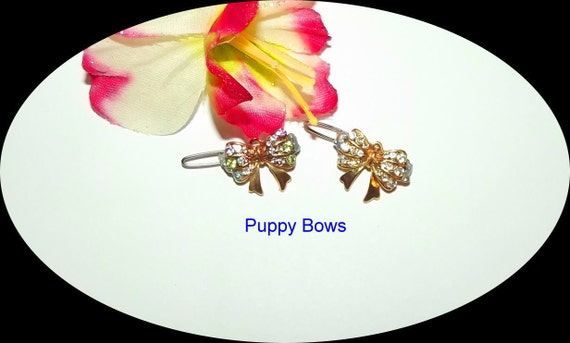 Puppy Bows ~TINY TINY bowknot flower pearls rhinestones dog bow  pet hair clip barrette
