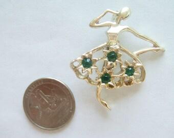 Vintage Ballet Brooch / Pin / Gerrys Brooch / Pin / Emerad Green Brooch / Pin / Dancer brooch / Pin / Gerry Jewelry / Dancer Jewelry