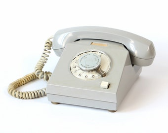 German RFT telephone, vintage phone, gray GDR phone, 70s rotary phone, gray rotary phone