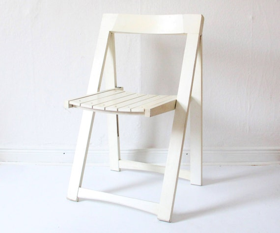RARE vintage design folding chair white wood by HorsesForCourses