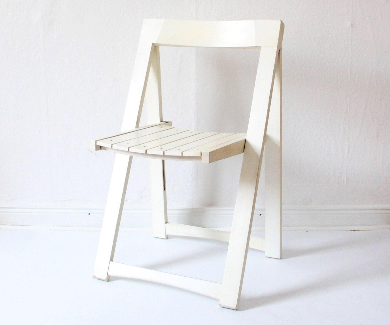 RARE vintage design folding chair white wood 1970s wooden