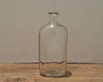 Vintage Clear Glass Medicine Bottle