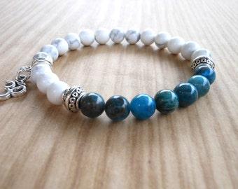 Blue Apatite Om Mala Bracelet, Healing & Balancing, Mala Bracelet, Yoga, Buddhist, Meditation, Prayer Beads