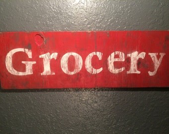 Distressed wooden Grocery hand painted sign