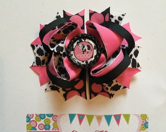 Hot Pink and Black Cow Over the Top Hair Bow