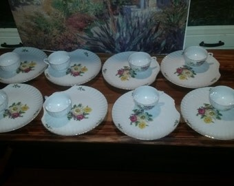 Mid Century Japanese China Snack Luncheon Plate and Cup Set