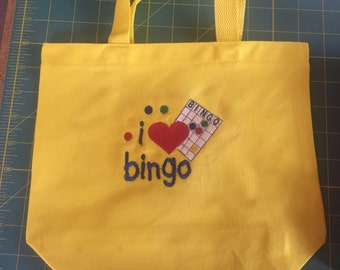 I Love Bingo Canvas Tote Bag - Personalized