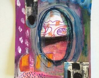 Original Art 5.2 X 6.2 inch painting - acrylic gesso pastels ooak
