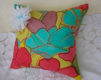 Floral Burst silk cushion cover 40 cm sq, zipped with ruffled bow detailing. Multicolor. Bold and beautiful to lift the mood in any room.