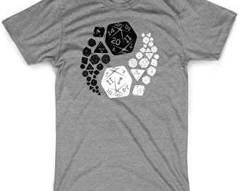 Dungeons and dragons yin yang shirt good and evil dnd tshirts gifts for d&d fans graphic dice tees