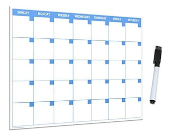 8.5x11 Inches Monthly Dry Erase Magnetic Calendar with Magnetic Marker