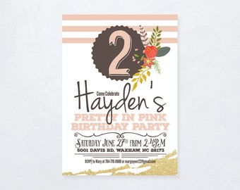 Pretty In Pink Birthday Invitation
