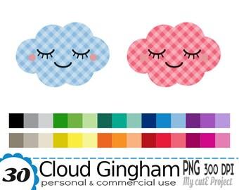 Cloud Kawaii Gingham - Clipart - 30 colors - 30 PNG files - 300 dpi - Instant download - Transparent PNG - CA39
