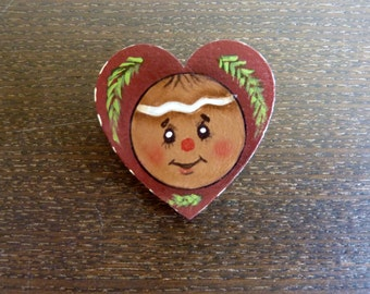 Hand Painted Wooden Brooch / Pin - Gingerbread - Christmas Gift - Stocking Stuffer - Hostess Gift