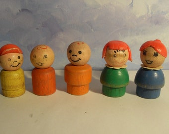 Vintage Wood 5 Lot of Fisher Price Little People 1963-1973