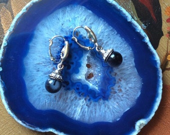 Elegant Evening Earrings • Black Fibrolite Stone Dangle Earrings • Rhinestone and Fibrolite Earrings • Evening Wear Earrings