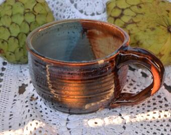 13oz ceramic tricolor coffee mug! pottery mug