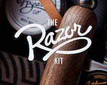 RAZOR KIT: Double Edge Safety Razor Kit – Beard grooming or shaving, solid walnut wood