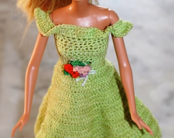 Spring Green Handmade Dress and Hat for Barbie Doll
