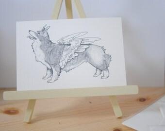 Corgi Drawing, Corgi Illustration,  Corgi Angel, Winged Corgi, Corgi Postcard, Winged Corgi, Corgi Wings, Black and White Corgi, A6 Print