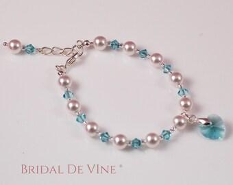 Bridesmaid Flower Girls Bracelet Light Turquoise (Tiffany Blue )Swarovski Crystals