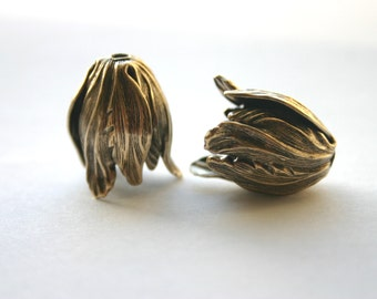 2 Lg. Tulip Flower Bead Caps - Antique Bronze - Made in USA