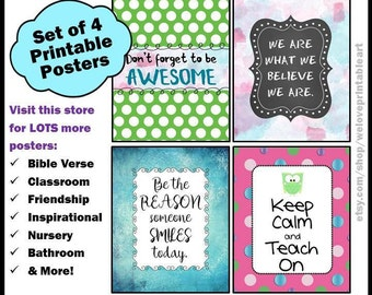 Printable Classroom Quotes for Students, Keep Calm and Teach On Saying, Printable Teacher Appreciation Week Posters, Classroom Signs