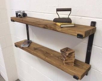 Rustic farmhouse industrial 2 tier solid steel shelf shelving unit
