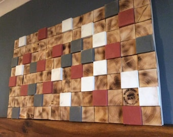 Handmade Solid Reclaimed Wood Wall Art Wall Sculpture 3D Geometric Design