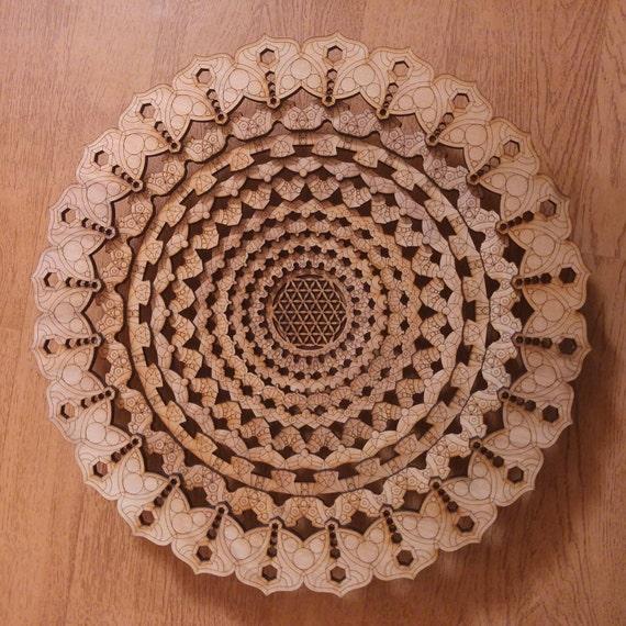 Mandala bol décoratif Laser Cut Fleur de vie Lotus Decor plateau pièce maîtresse
