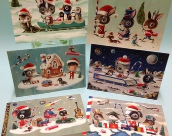 Christmas Cards - packet of 6 limited edition cards, signed and numbered by the artist Martin Harris