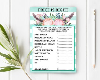 Price Is Right Baby Shower Game, Boho Baby Shower Game, Stripes and Flowers Baby Shower, Item 241