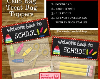 Back to School Cello / Sandwich Treat Bag Toppers for your Parties - Instant Download