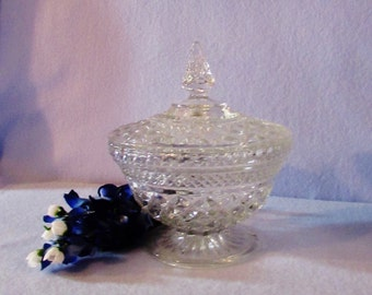 Vintage Crystal Compote Footed Dish with Lid by Anchor Hocking in the Wexford Pattern