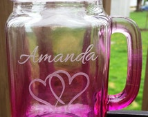 Etched Glass Bridesmaid Glasses Mason Jar Mugs  Wedding  Bridesmaid Gifts Personalized Custom Engraved 4 Different Colors