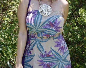 SALE! Vintage Floral Strapless Dress * Print * 1980's  * Hawaiian * Retro * Vacation * Size Medium / Large