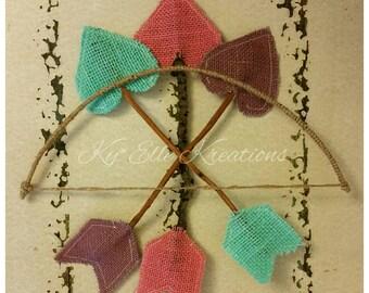 Cupid Bow & Arrows,Bow and  Arrow, Bow, Burlap Arrows, Valentine Arrow, Valentine Accessories, Photo Booth Prop, Photo Prop,Valentine Cupid,