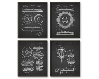 Frisbee Patent Print Set of 4 - Frisbee Design - Flying Disc Patent - Frisbee Invention - Frisbee Decor - Frisbee Players - Dorm Decor