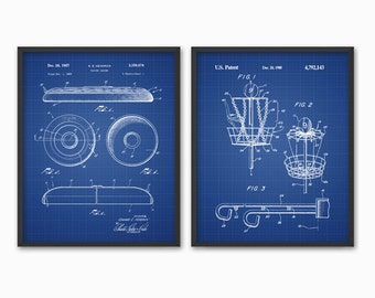 Frisbee Patent Print Set of 2 - Frisbee Design - Flying Disc Patent - Frisbee Invention - Frisbee Decor - Frisbee Players - Dorm Decor
