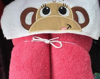 Cute Pink Monkey Hooded Towel