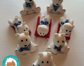 Polar Bears fondant cupcake topper
